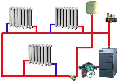 схемы отопление частного дома