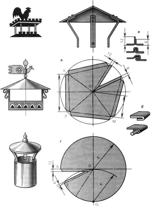 схемы изготовления дымников (флюгарок) различных типов