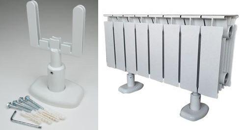 Если вы не знаете, как крепить биметаллический радиатор к стене ввиду ее низкой прочности, то напольное крепление может стать отличным выходом из ситуации, инструкция по его установке проста, поэтому проблем с монтажом не возникнет