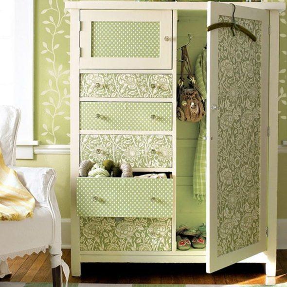 Реставрация шкафа тканью