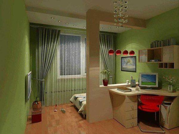 Зонирование маленькой комнаты при помощи открытой полки