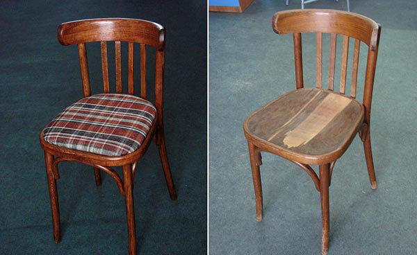 Жесткое сиденье стало мягким и украшенным квадратным принтом