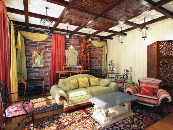 Крупная мебель, яркие шторы – особый шик марокко