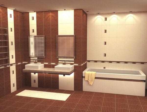 Терракот эстетично смотрится в ванной комнате