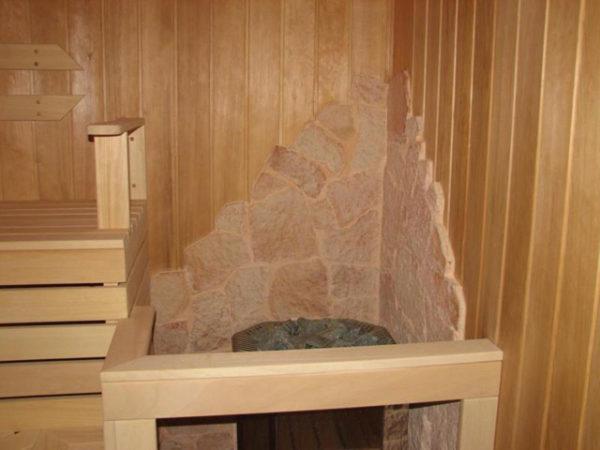 Благодаря высокой огнеустойчивости терракотовая плитка подходит для бани