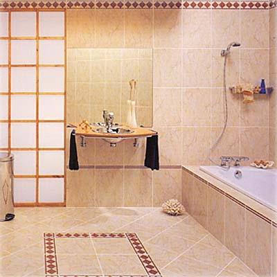 Уютная и нежная ванная, отделанная терракотовой плиткой