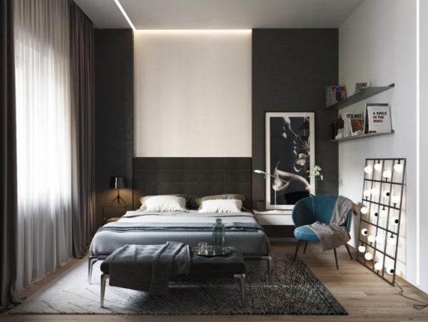 Идеальное сочетание цветов, черный не угнетает, а светлый тон остальных стен подчеркивает элегантность стиля