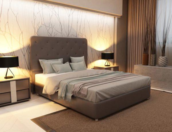 Изголовье в современной спальне