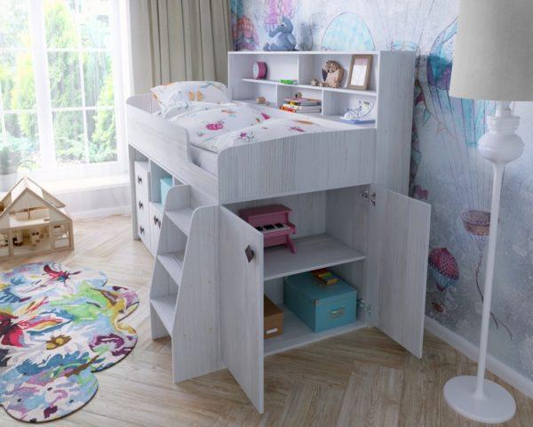 Кровать-чердак использует все пространство под собой с максимальной пользой