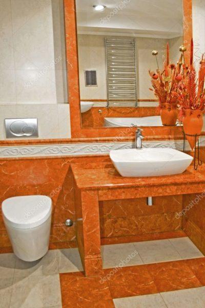 Терракотовая ванная комната наполнит яркостью дом