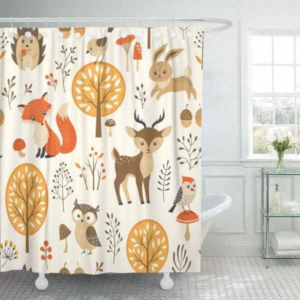 С такой шторой в вашу ванную комнату придет приятное осеннее настроение