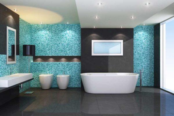 В большой ванной можно применить темный, близкий к черному, оттенок серого