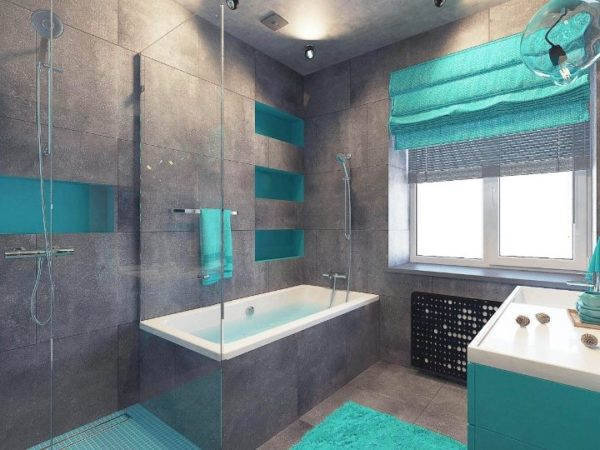 Темно-серая ванная комната с яркими бирюзовыми акцентами