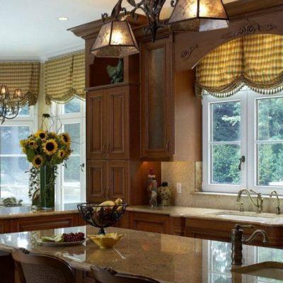 Занавески на стилизованной кухне