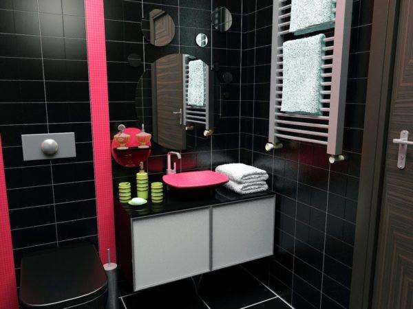 Добавьте красный к вашей черной ванной и получите совершенно новую комнату.