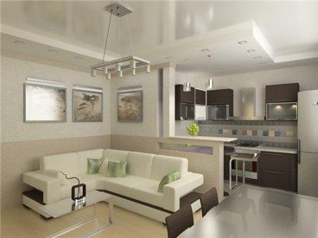 Объединение кухни с залом, при этом обе комнаты не потеряли своей начальной функциональности.