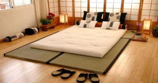 Японский минимализм в дизайне спальни.