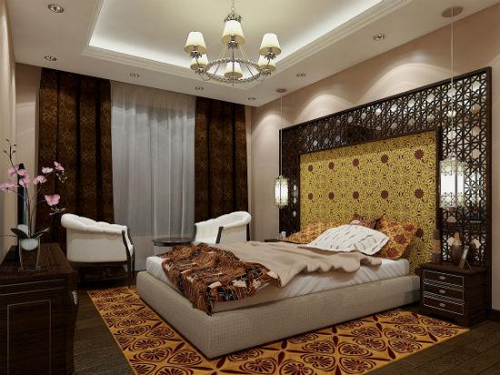 Так может выглядеть арабский стиль в спальне современной квартиры.