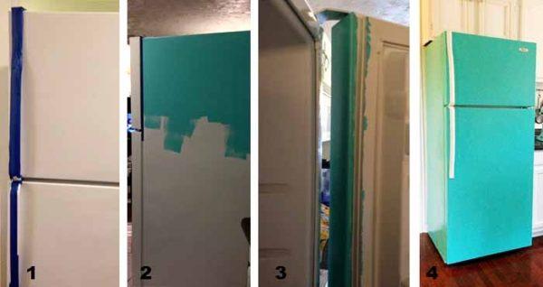 Покрасьте холодильник под цвет кухонного гарнитура или сделайте цветовой акцент на нем.