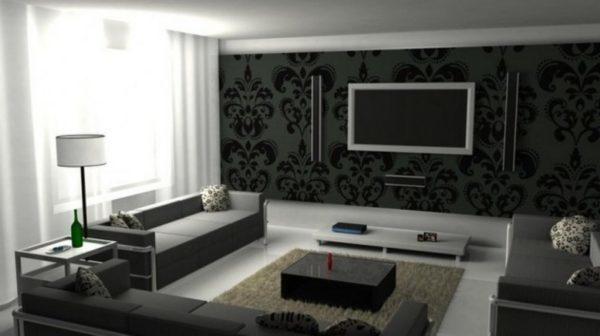 Большая гостиная дает возможность внести больше черных красок, при этом не сделать помещение мрачным.