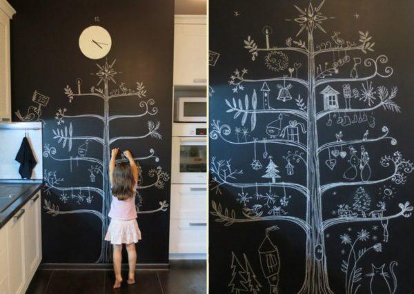 Создавайте уют в доме совместными рисунками на стене.
