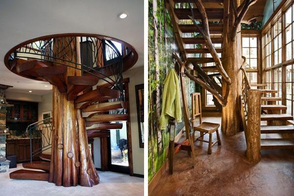 Варианты винтовых лестниц, основой которых служит ствол дерева.
