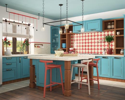 Эклектика на кухне выглядит очень стильно.