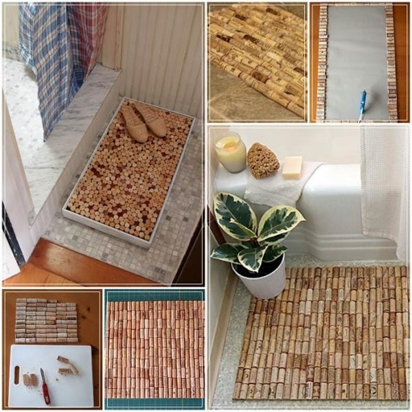 Коврик для ванной из винных пробок мягко, удобно и практично.