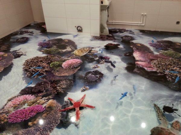 Наливной пол с 3D дизайном.