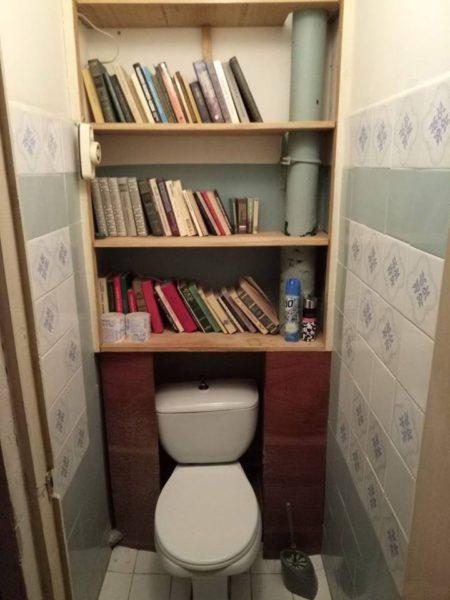 Не очень аккуратная, но все-таки библиотека в туалете.