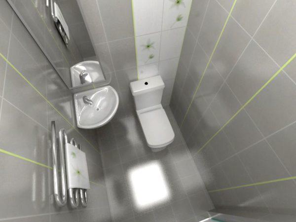 Миниатюрный туалет со столь же миниатюрной раковиной.