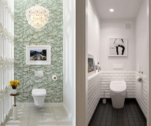 Дизайн туалета, выполненный в нейтральных тонах, дополнен картиной.