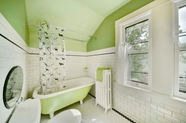 Нежный зеленый поможет расслабиться, нежась в ванне.