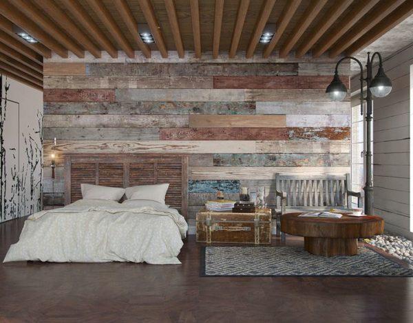 Спальня в стиле лофт оставляет ощущение незаконченного ремонта.