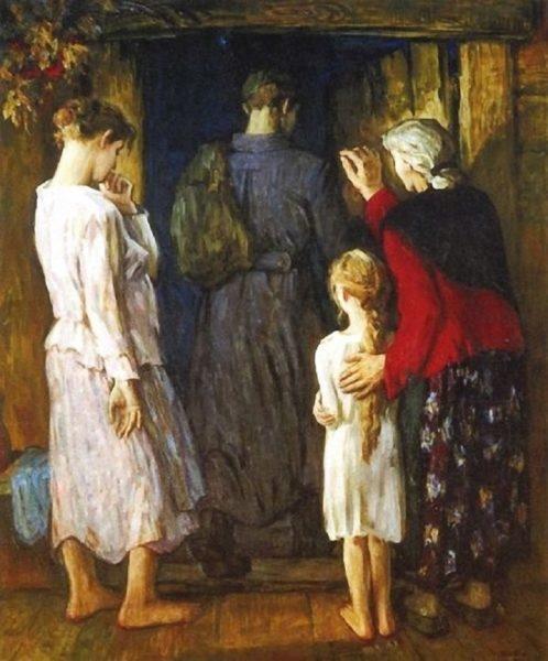 Мать благословляет в дорогу.