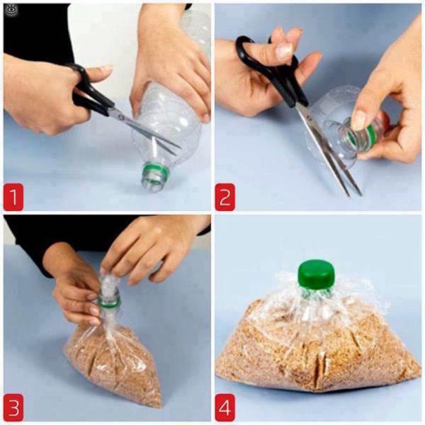 Горлышко и крышка от пластиковой бутылке легко заменят узел на пакете.