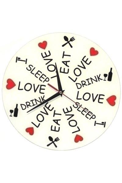 Часы «Ешь, спи, люби» и главное ничего не забыть.