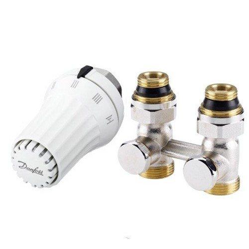Комплект для нижнего подключения радиатора с термоголовкой (прямой тип)