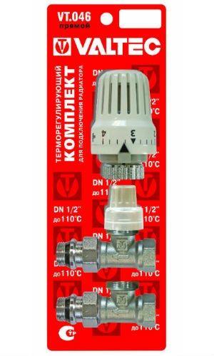 Комплект имеет в составе термостатический и настроечный клапан, а также регулировочный блок