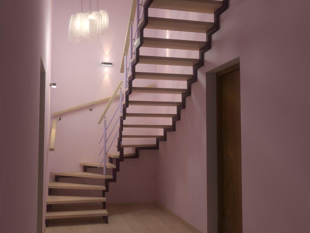 Лестница из профильной трубы фото