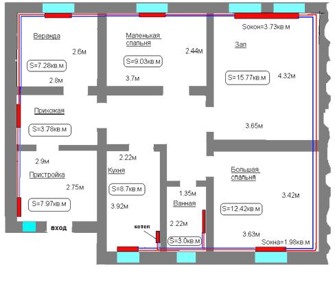 Нужное количество батарей определяем расчётным путем