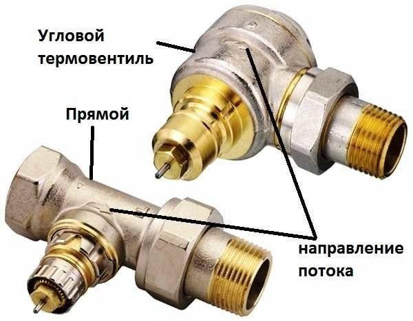 Прямой и угловой клапаны