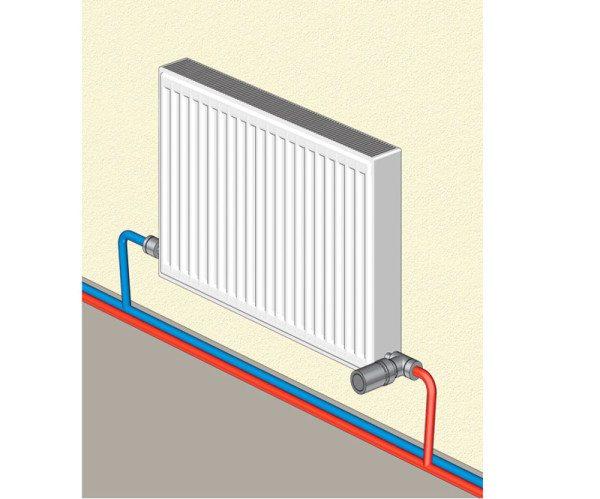 Схема разводки труб с горячей и охлажденной водой
